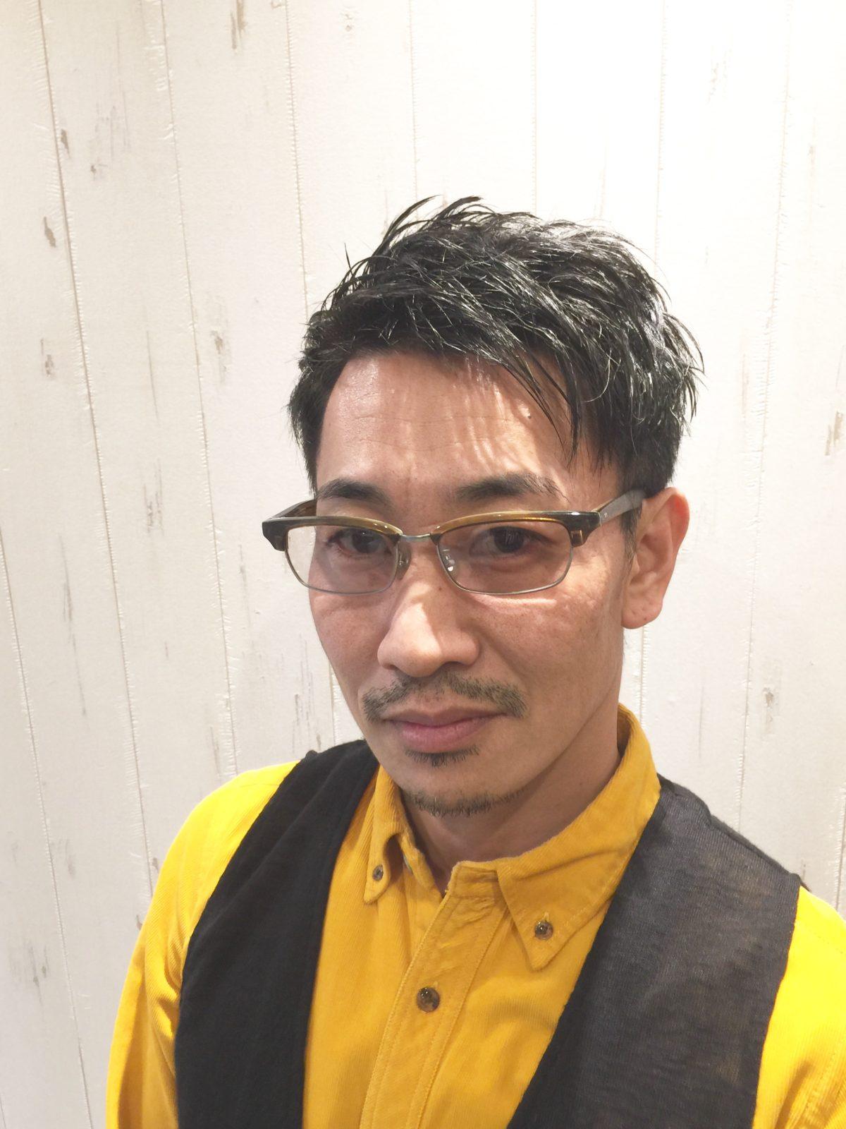 メガネスタイル メンズヘアー